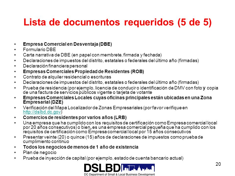 Lista de documentos requeridos (5 de 5)