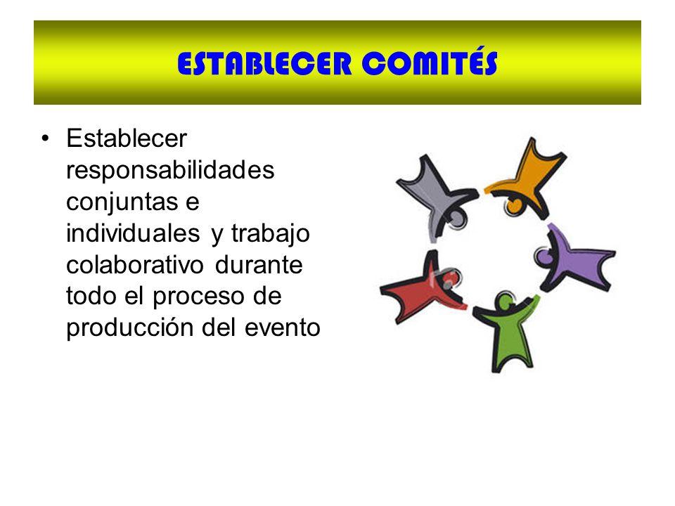ESTABLECER COMITÉS Establecer responsabilidades conjuntas e individuales y trabajo colaborativo durante todo el proceso de producción del evento.
