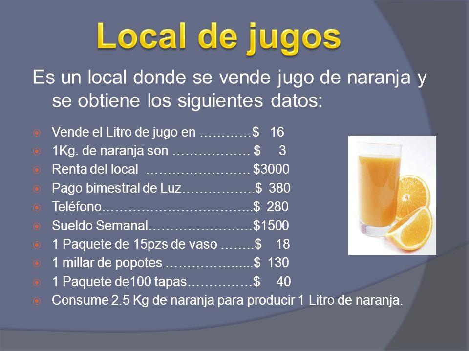Local de jugos Es un local donde se vende jugo de naranja y se obtiene los siguientes datos: Vende el Litro de jugo en …………$ 16.