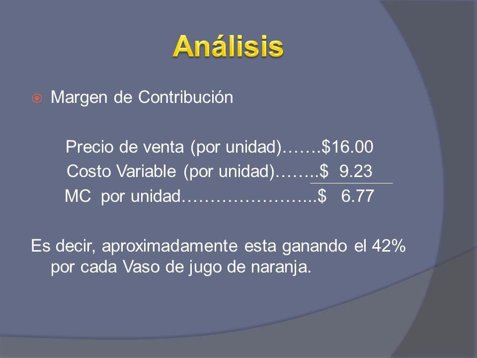 Análisis Margen de Contribución Precio de venta (por unidad)…….$16.00