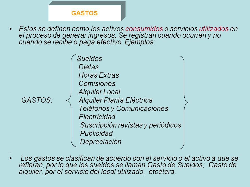 GASTOS: Alquiler Planta Eléctrica Teléfonos y Comunicaciones