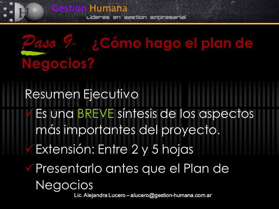 Paso 9- ¿Cómo hago el plan de Negocios