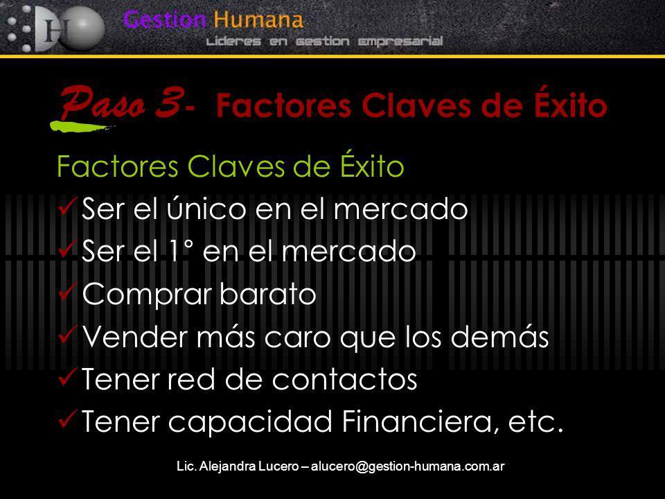Paso 3- Factores Claves de Éxito