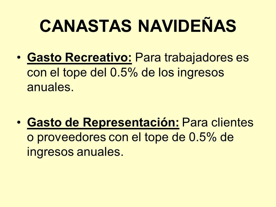 CANASTAS NAVIDEÑAS Gasto Recreativo: Para trabajadores es con el tope del 0.5% de los ingresos anuales.