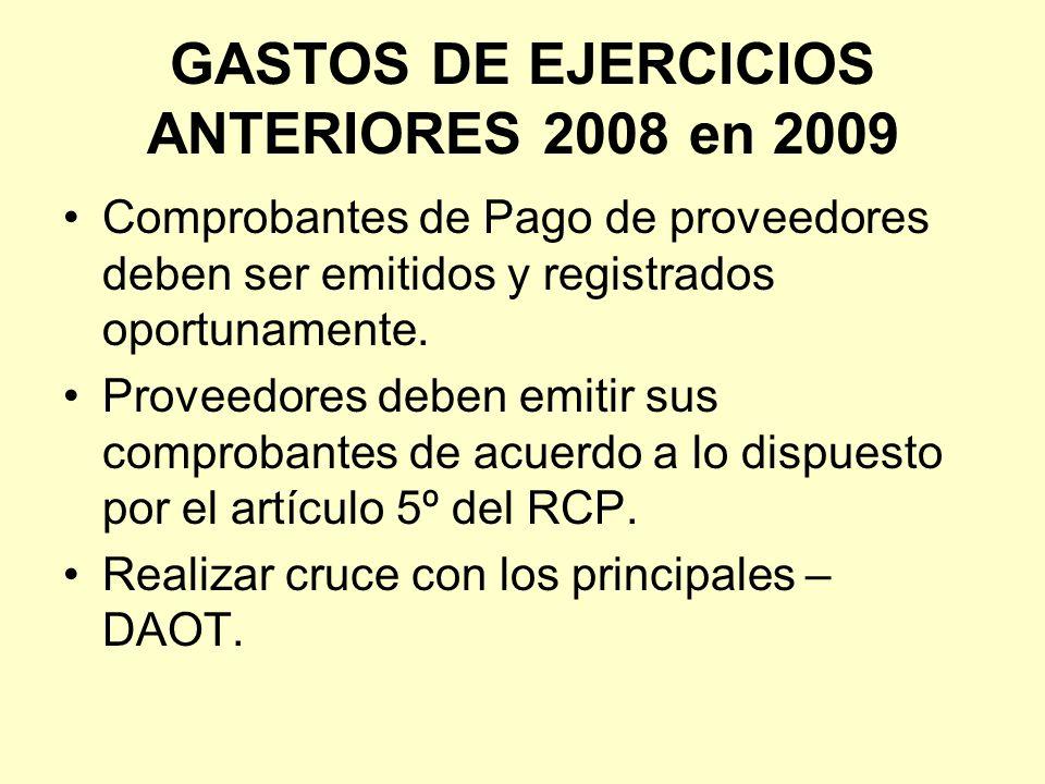 GASTOS DE EJERCICIOS ANTERIORES 2008 en 2009