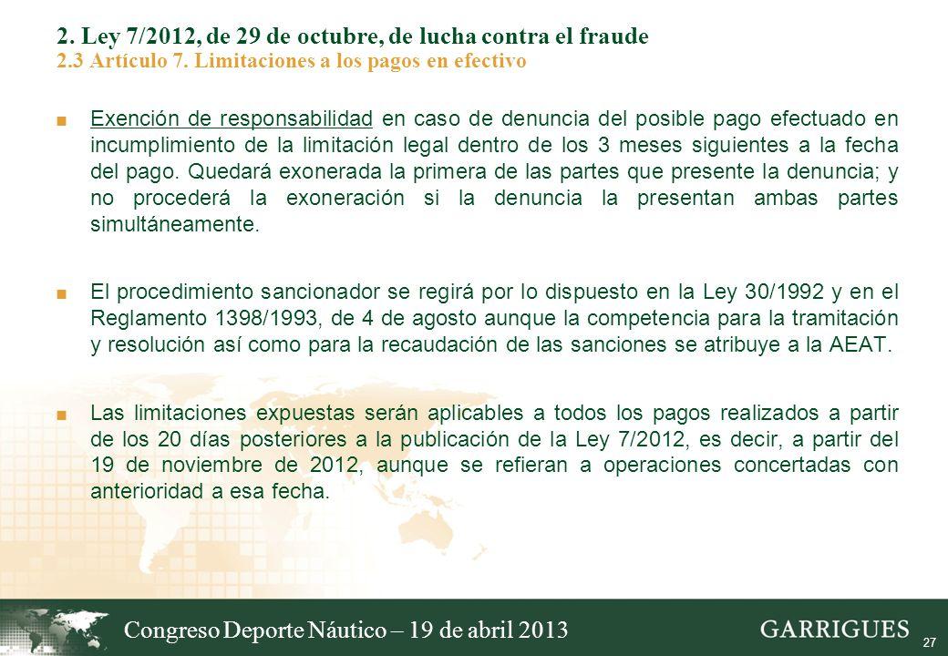 Congreso Deporte Náutico – 19 de abril 2013