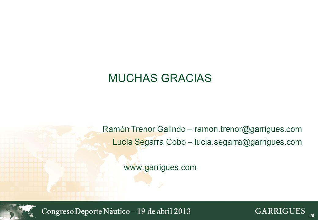MUCHAS GRACIAS Ramón Trénor Galindo – ramon.trenor@garrigues.com