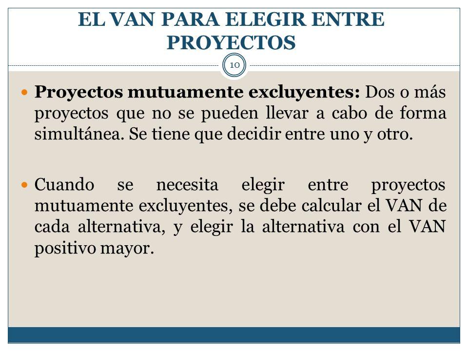 EL VAN PARA ELEGIR ENTRE PROYECTOS