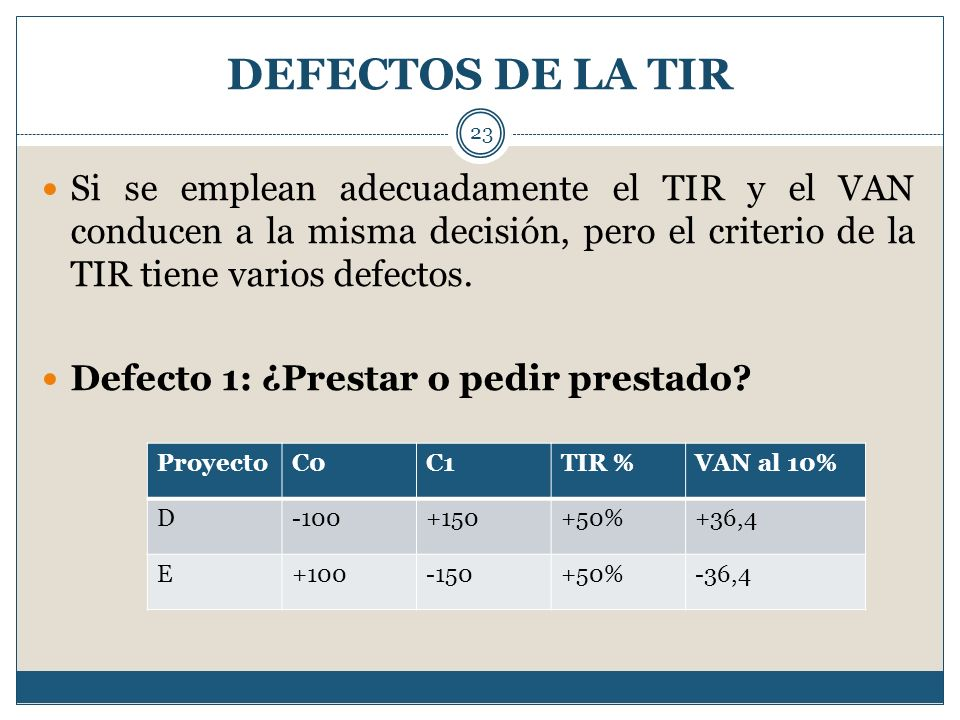 DEFECTOS DE LA TIR Si se emplean adecuadamente el TIR y el VAN conducen a la misma decisión, pero el criterio de la TIR tiene varios defectos.