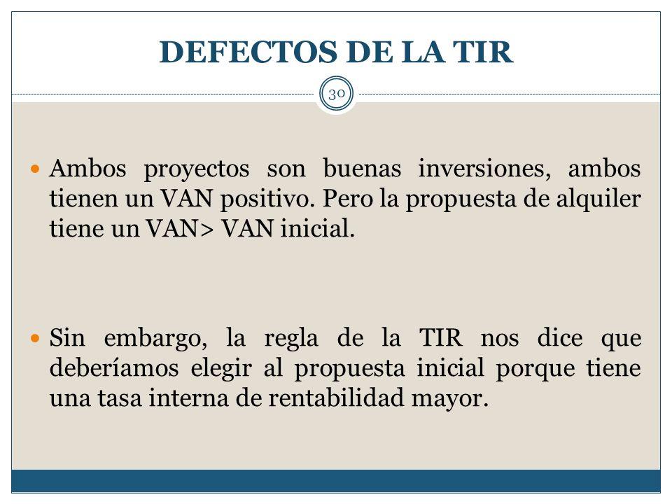 DEFECTOS DE LA TIR Ambos proyectos son buenas inversiones, ambos tienen un VAN positivo. Pero la propuesta de alquiler tiene un VAN> VAN inicial.