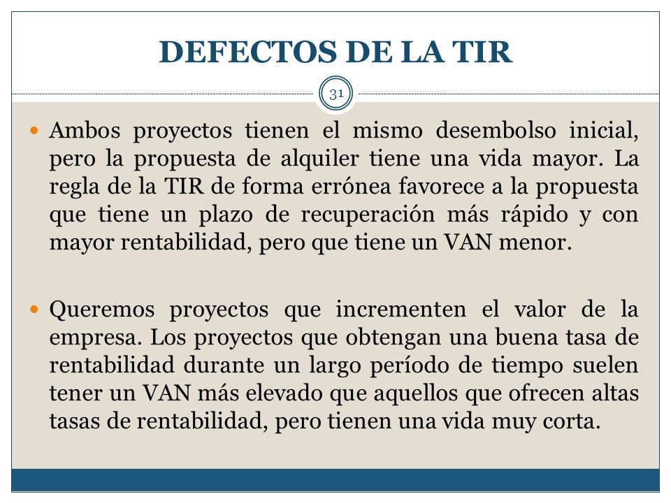 DEFECTOS DE LA TIR