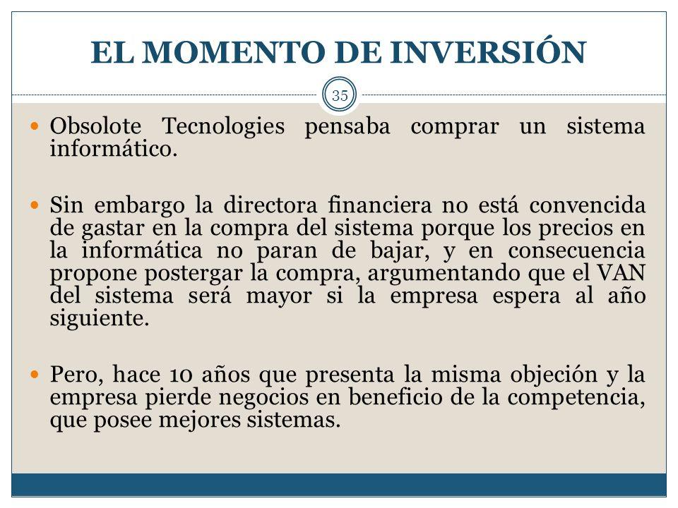 EL MOMENTO DE INVERSIÓN