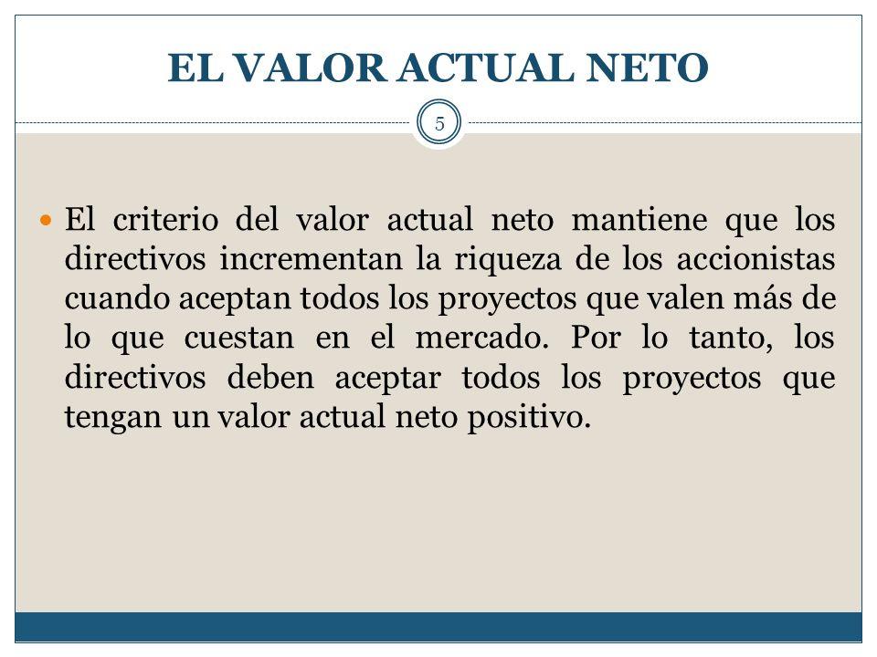 EL VALOR ACTUAL NETO