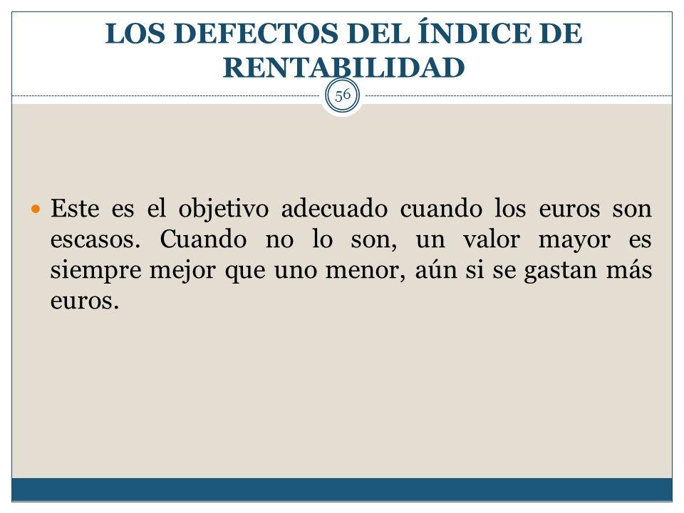 LOS DEFECTOS DEL ÍNDICE DE RENTABILIDAD