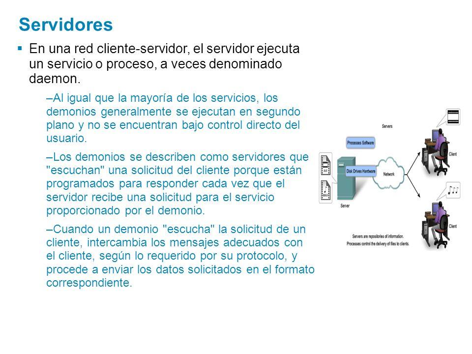 Servidores En una red cliente-servidor, el servidor ejecuta un servicio o proceso, a veces denominado daemon.