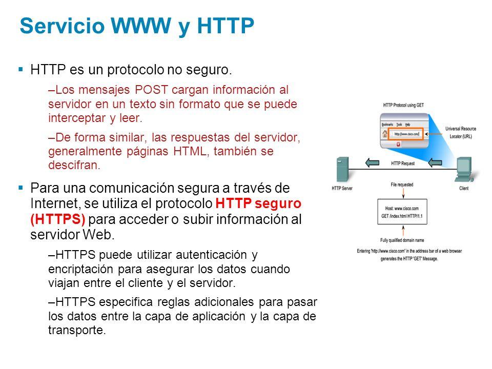 Servicio WWW y HTTP HTTP es un protocolo no seguro.