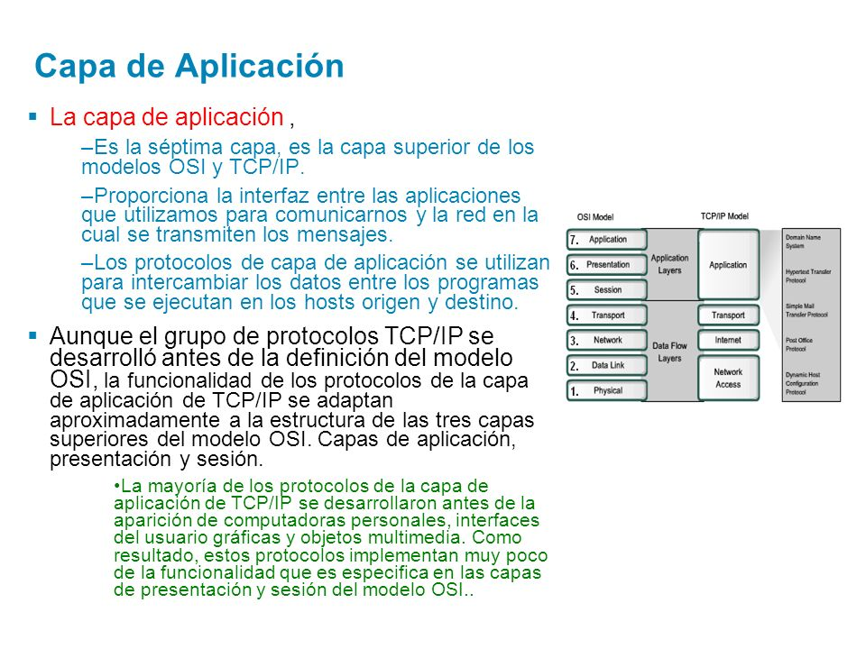Capa de Aplicación La capa de aplicación ,