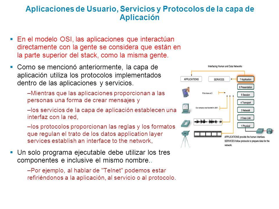 Aplicaciones de Usuario, Servicios y Protocolos de la capa de Aplicación