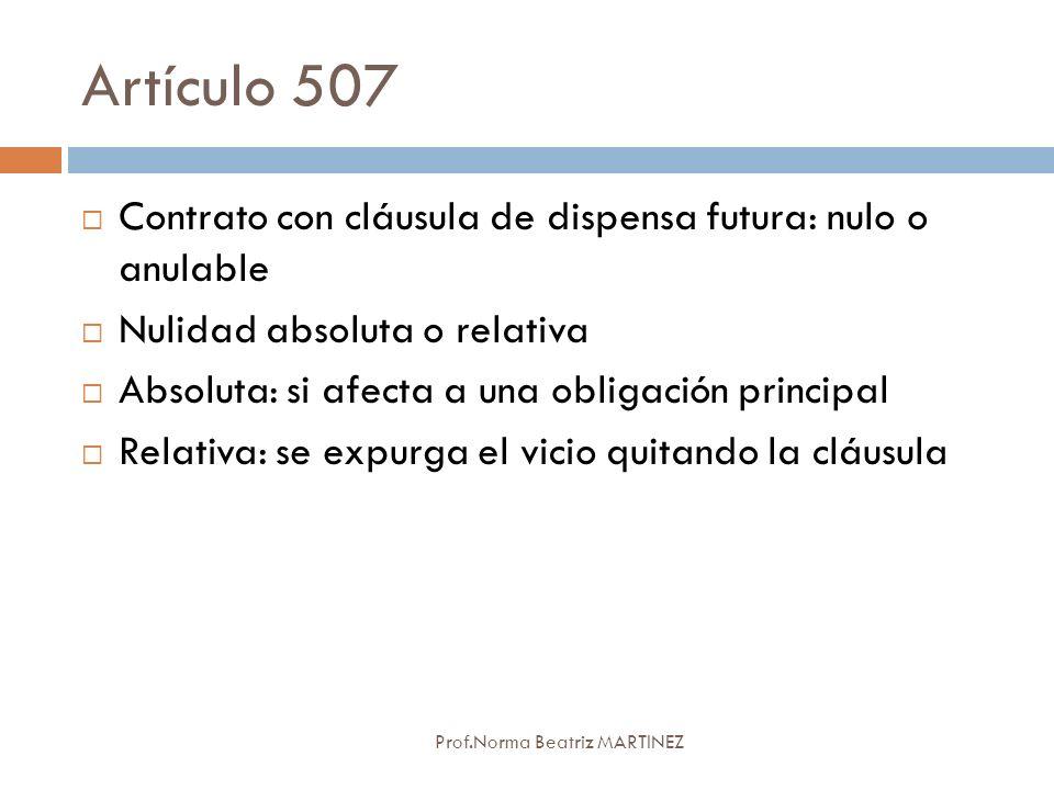 Artículo 507 Contrato con cláusula de dispensa futura: nulo o anulable