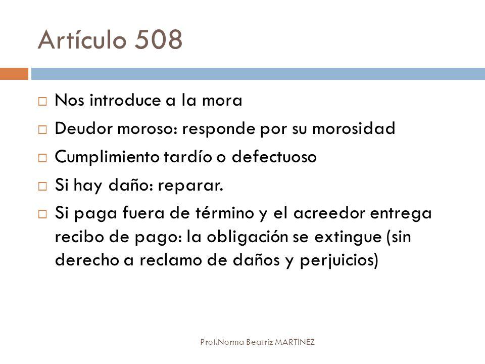 Artículo 508 Nos introduce a la mora