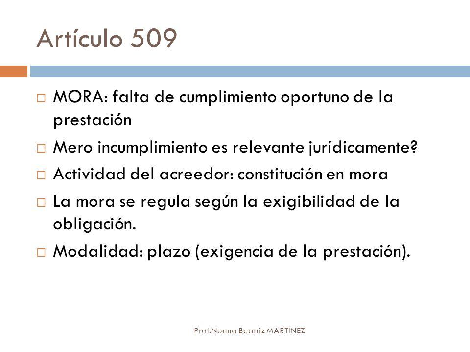 Artículo 509 MORA: falta de cumplimiento oportuno de la prestación