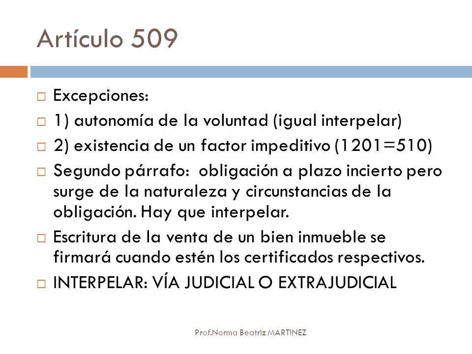Artículo 509 Excepciones: