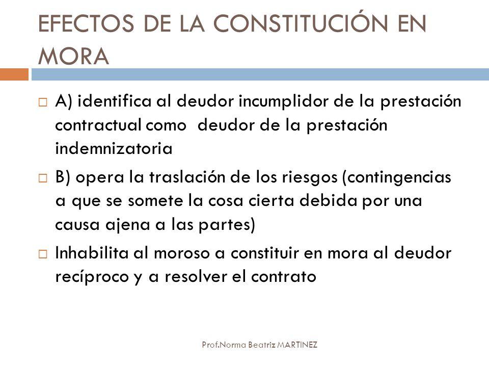 EFECTOS DE LA CONSTITUCIÓN EN MORA