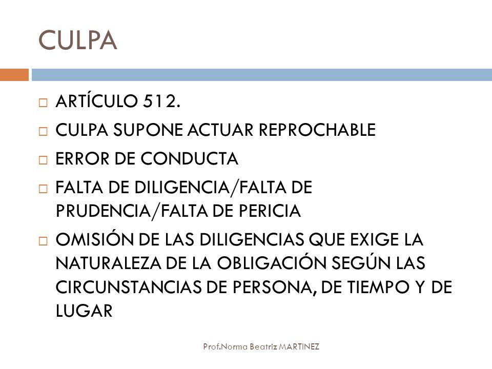 CULPA ARTÍCULO 512. CULPA SUPONE ACTUAR REPROCHABLE ERROR DE CONDUCTA