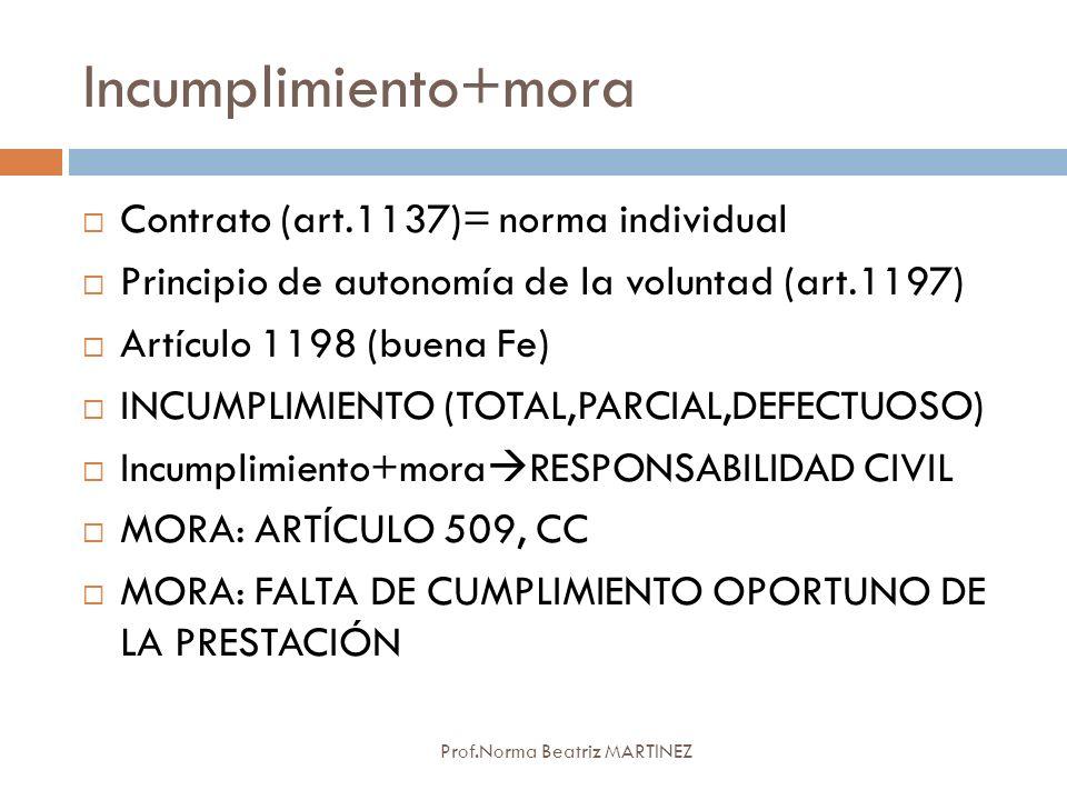 Incumplimiento+mora Contrato (art.1137)= norma individual