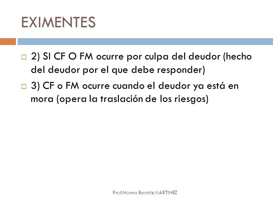 EXIMENTES 2) SI CF O FM ocurre por culpa del deudor (hecho del deudor por el que debe responder)