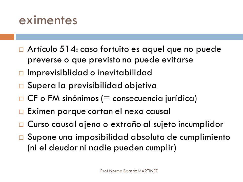 eximentes Artículo 514: caso fortuito es aquel que no puede preverse o que previsto no puede evitarse.