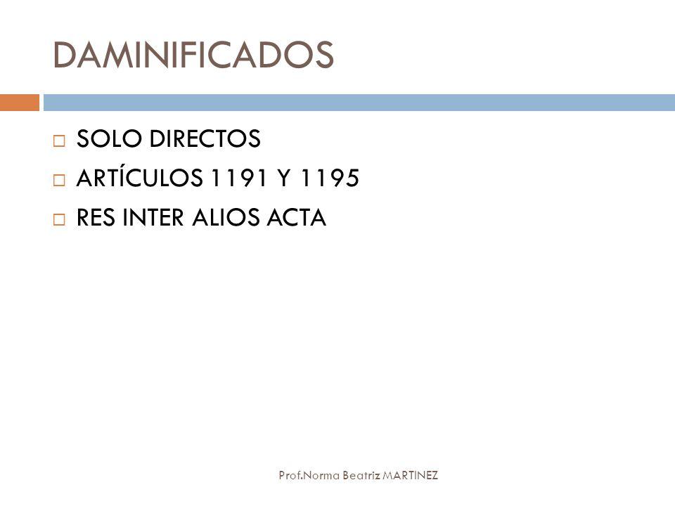 DAMINIFICADOS SOLO DIRECTOS ARTÍCULOS 1191 Y 1195 RES INTER ALIOS ACTA