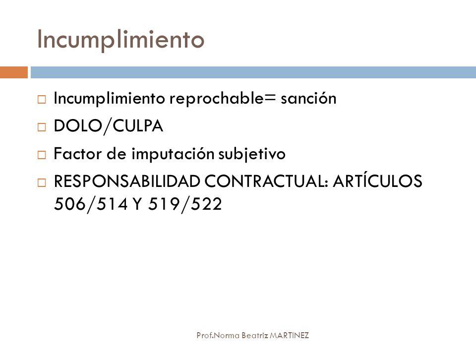 Incumplimiento Incumplimiento reprochable= sanción DOLO/CULPA