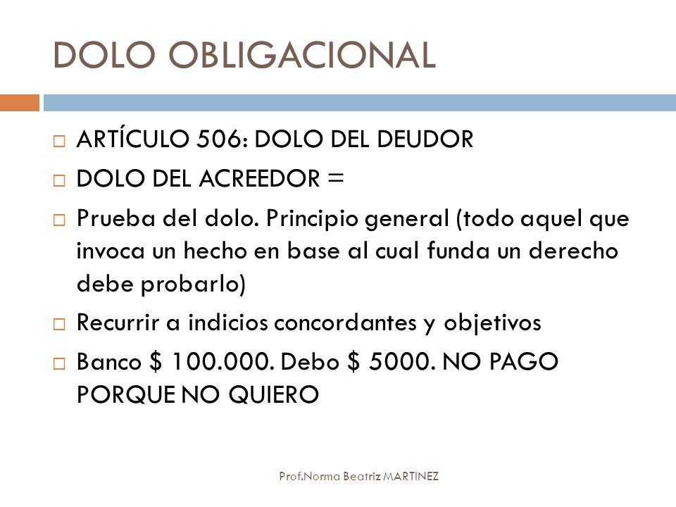 DOLO OBLIGACIONAL ARTÍCULO 506: DOLO DEL DEUDOR DOLO DEL ACREEDOR =
