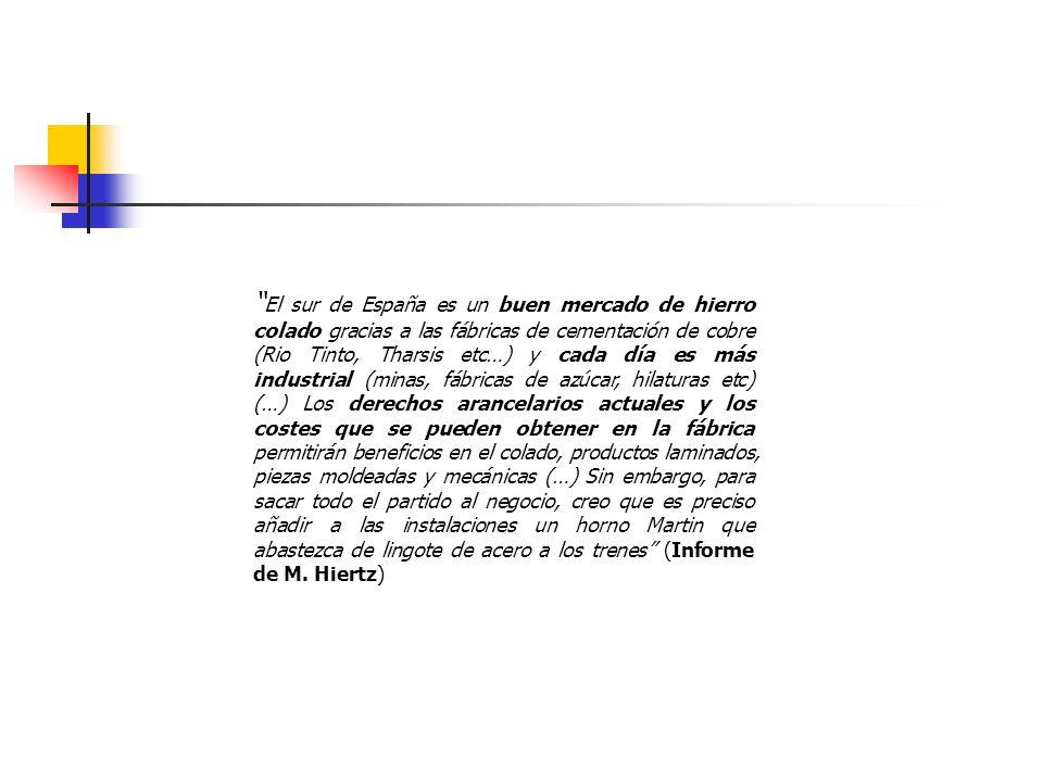 El sur de España es un buen mercado de hierro colado gracias a las fábricas de cementación de cobre (Rio Tinto, Tharsis etc…) y cada día es más industrial (minas, fábricas de azúcar, hilaturas etc) (…) Los derechos arancelarios actuales y los costes que se pueden obtener en la fábrica permitirán beneficios en el colado, productos laminados, piezas moldeadas y mecánicas (…) Sin embargo, para sacar todo el partido al negocio, creo que es preciso añadir a las instalaciones un horno Martin que abastezca de lingote de acero a los trenes (Informe de M.