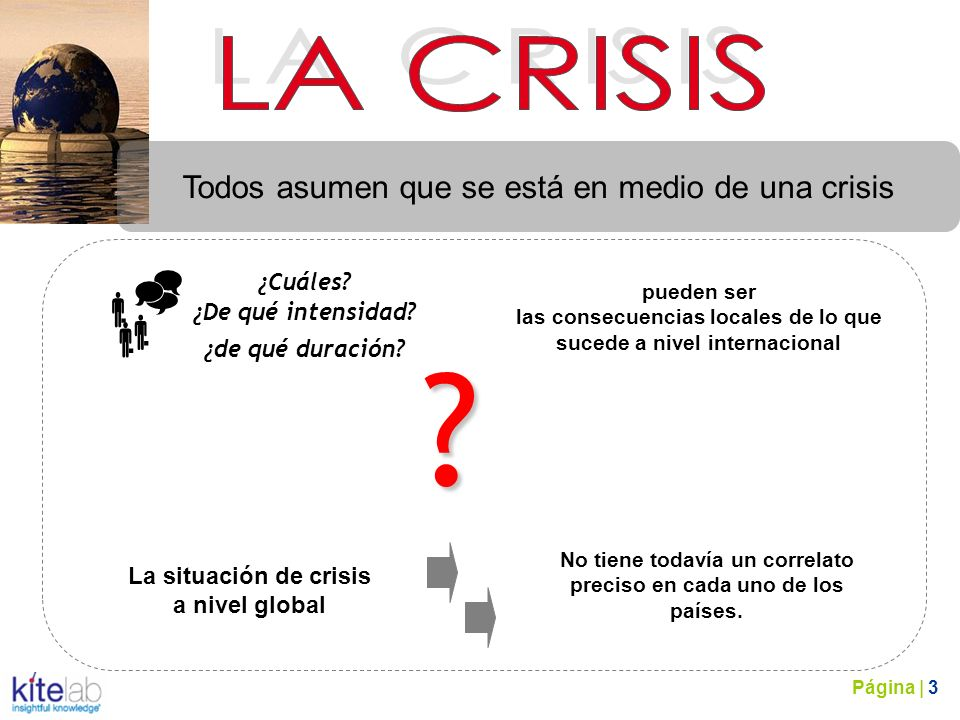 . Todos asumen que se está en medio de una crisis ¿Cuáles