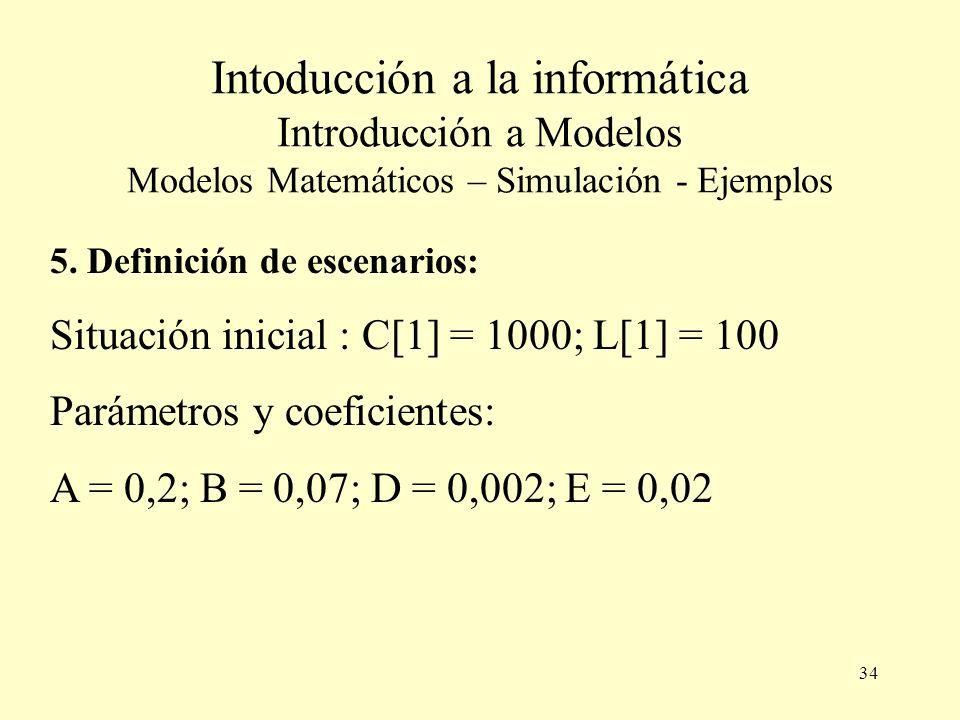 Intoducción a la informática Introducción a Modelos Modelos Matemáticos – Simulación - Ejemplos
