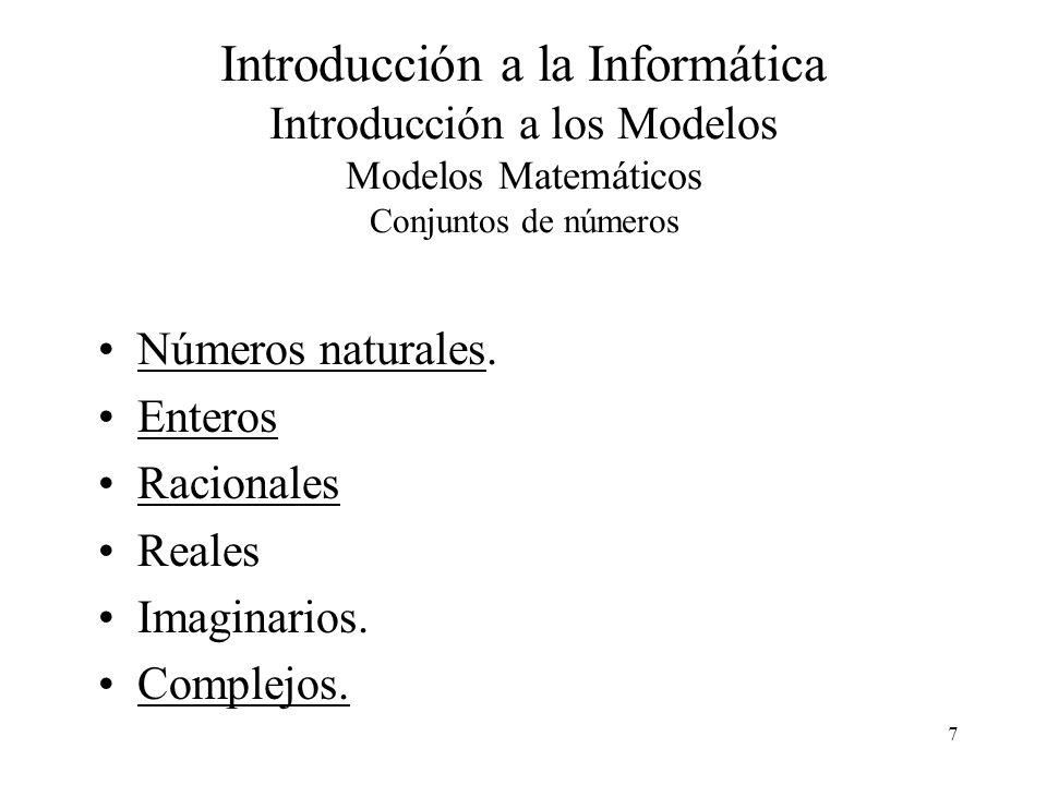Introducción a la Informática Introducción a los Modelos Modelos Matemáticos Conjuntos de números