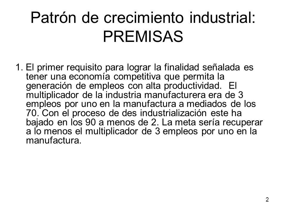 Patrón de crecimiento industrial: PREMISAS