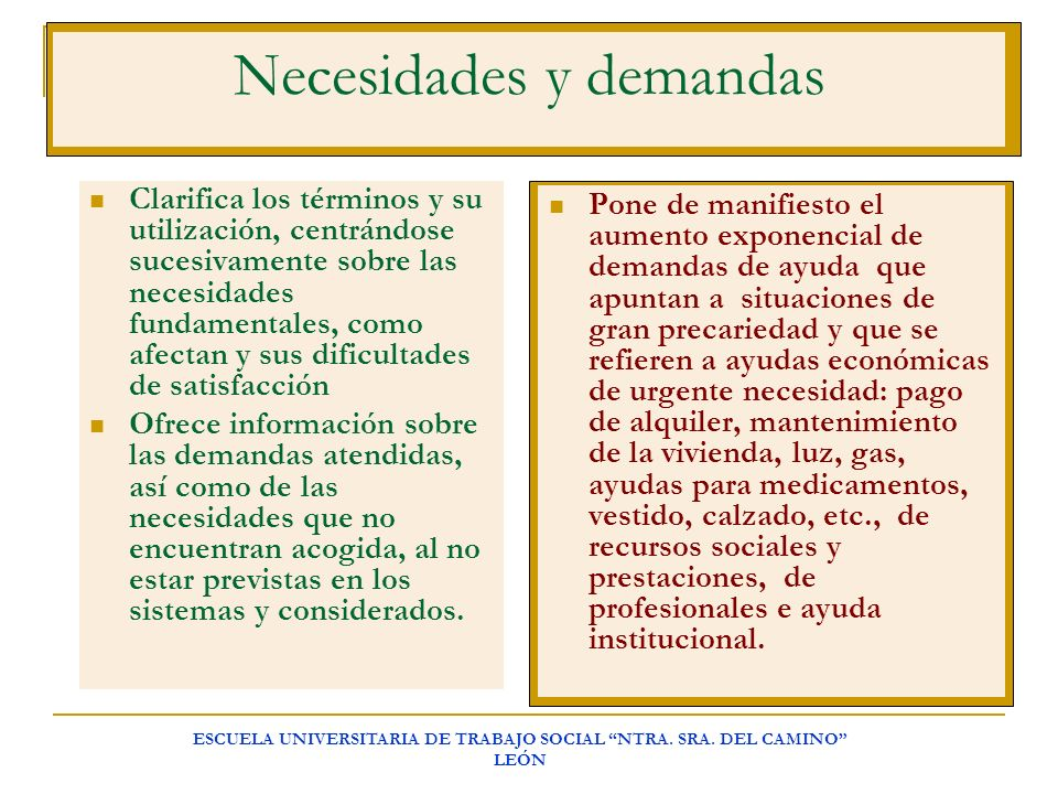 Necesidades y demandas