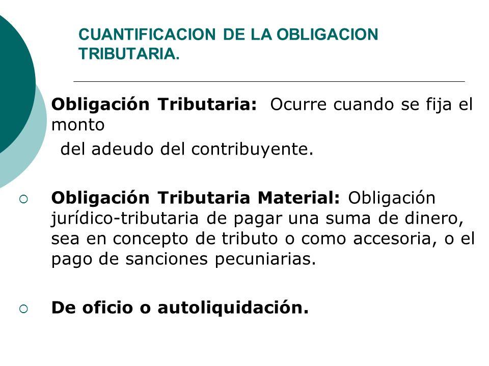 CUANTIFICACION DE LA OBLIGACION TRIBUTARIA.