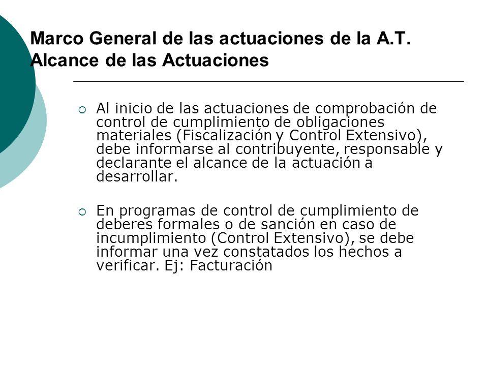 Marco General de las actuaciones de la A.T. Alcance de las Actuaciones