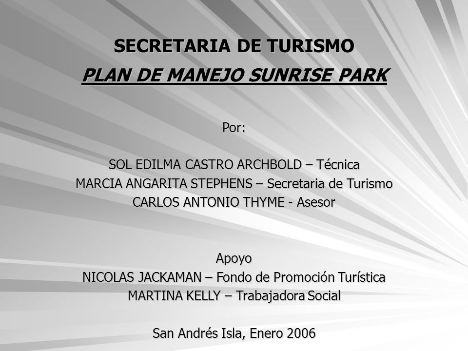 PLAN DE MANEJO SUNRISE PARK