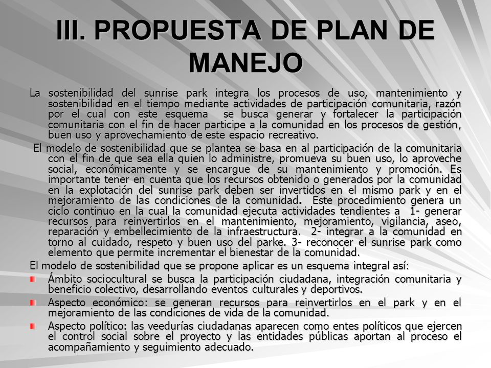 III. PROPUESTA DE PLAN DE MANEJO