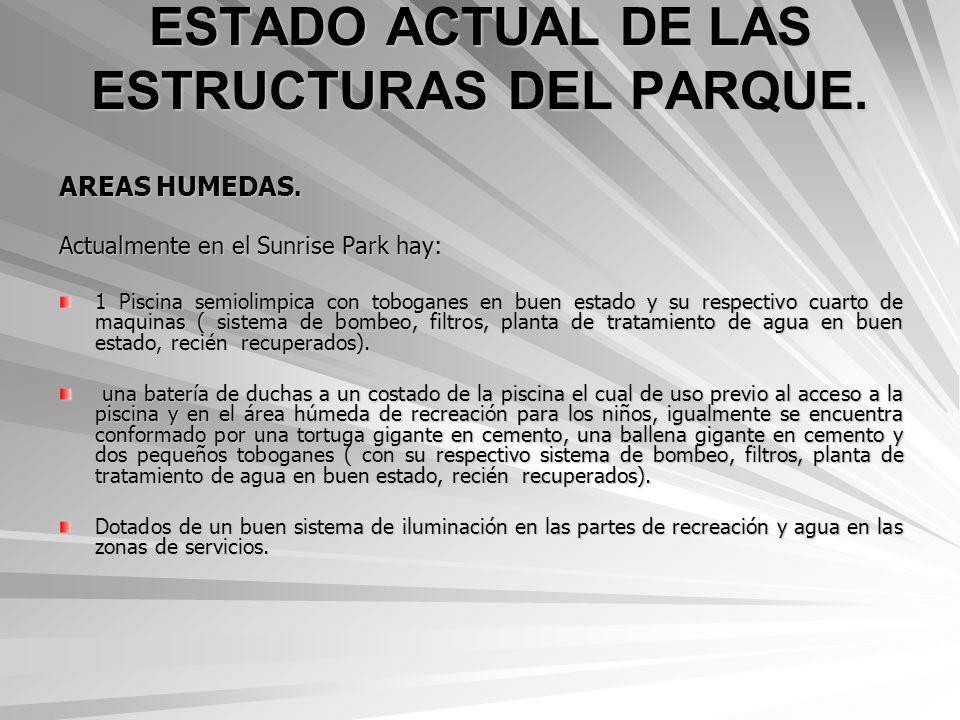 ESTADO ACTUAL DE LAS ESTRUCTURAS DEL PARQUE.