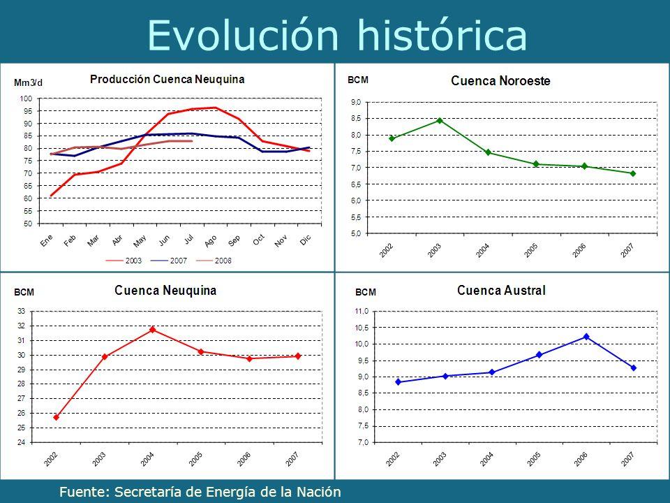 Evolución histórica Fuente: Secretaría de Energía de la Nación