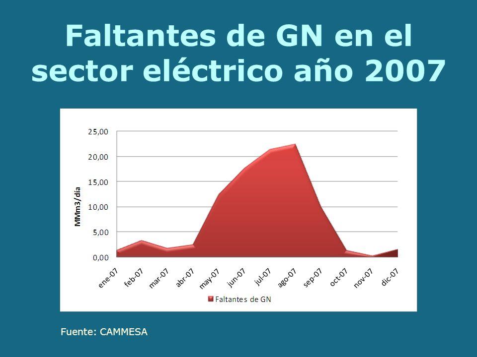 Faltantes de GN en el sector eléctrico año 2007