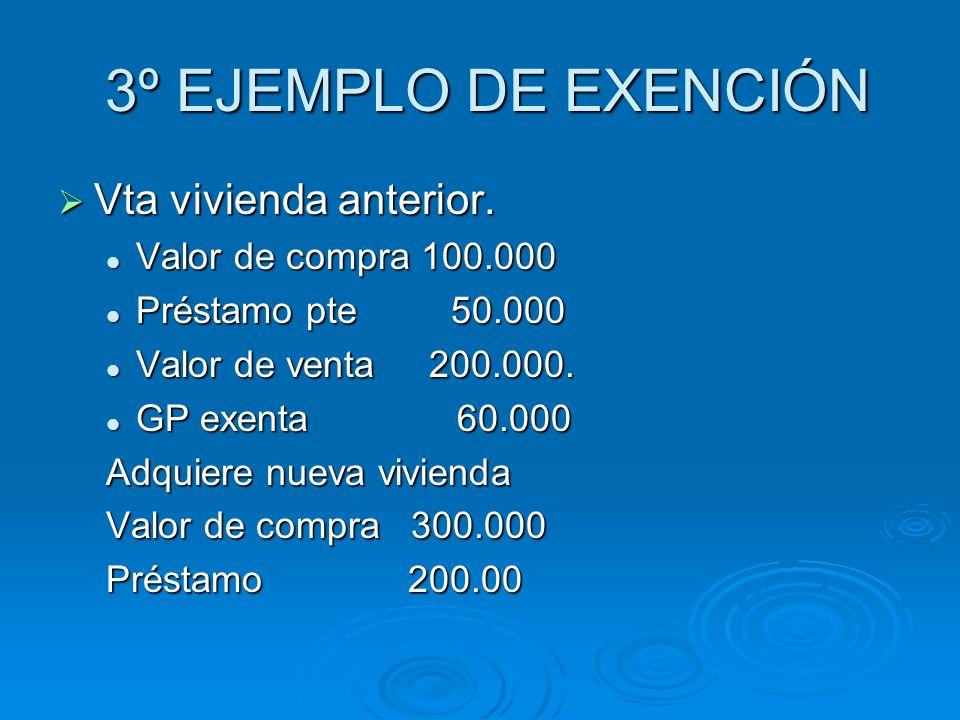 3º EJEMPLO DE EXENCIÓN Vta vivienda anterior. Valor de compra 100.000