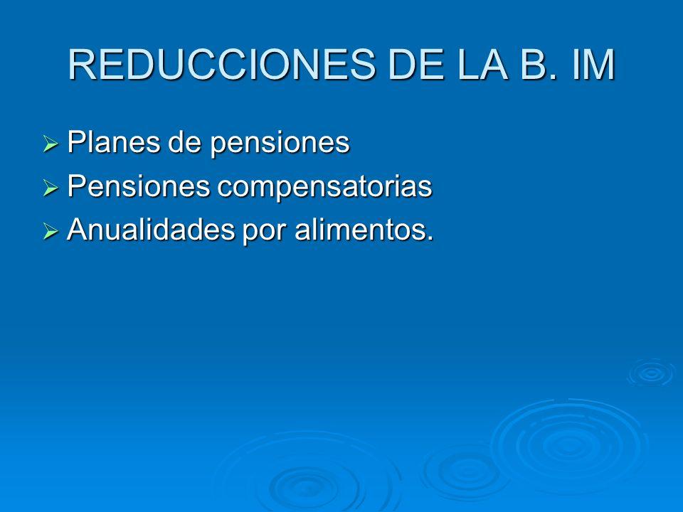REDUCCIONES DE LA B. IM Planes de pensiones Pensiones compensatorias