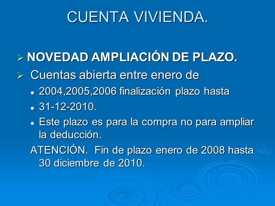 CUENTA VIVIENDA. NOVEDAD AMPLIACIÓN DE PLAZO.